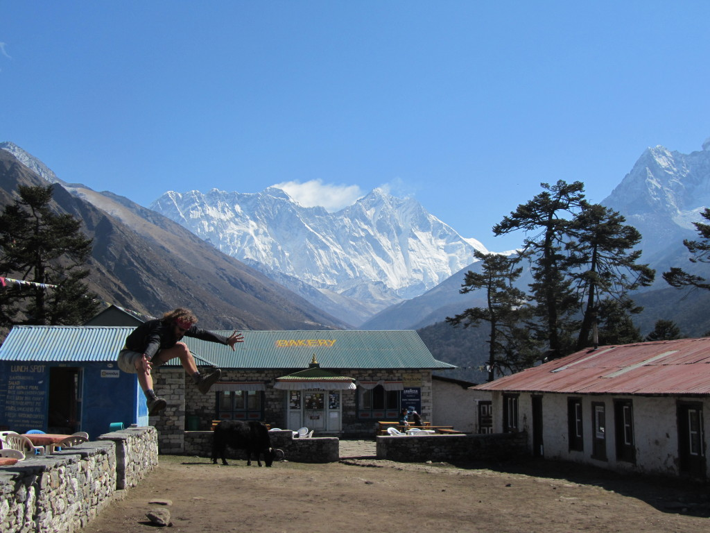 In front of the bakery in Tengboche with Everest in the background.