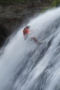 Abseiling down a 25m high waterfall!