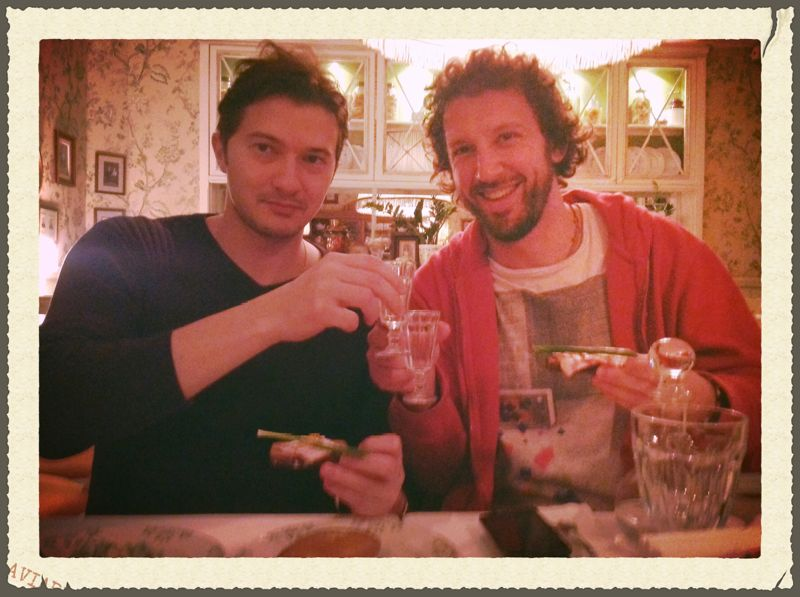 Dmitri and I having some vodka with dinner for a change