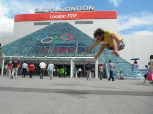 Outside the Excel Arena at London 2012