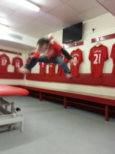 Inside the change-room on the Anfield tour