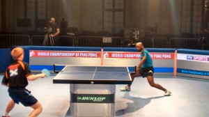 Scotland's Gavin Rumgay taking on Nigerian's Kazeem Adeleke