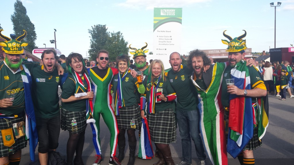 With some Springbok fans outside the stadium.