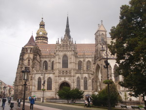 The main square and cathedral in Kosice