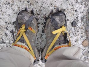 Wearing crampons for the first time!
