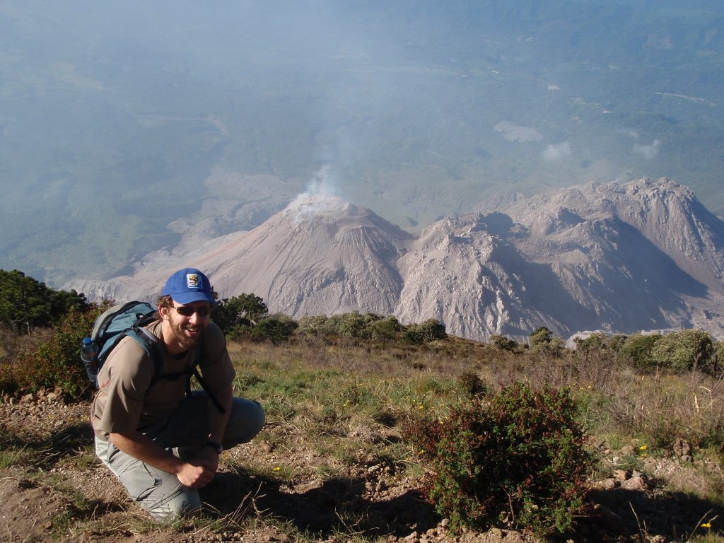 From the summit of Santa María, it is possible to look down on the eruptions at Santiaguito a mile below.
