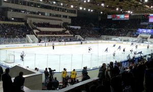 Watching ice hockey in Moscow!