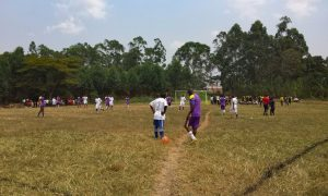Watching local football in Uganda