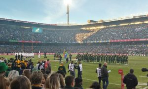 Watching the Bokke win the series in Bloem